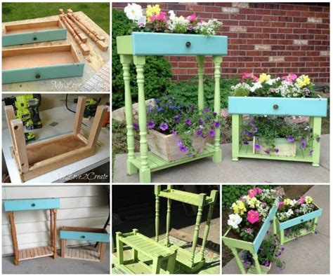 diy upcycled drawer  garden planters pictures