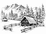 Cabin Winter Drawing Mountains Landscape Illustration Sketch Mountain Drawings Line Forest Pencil Vector Illustrations Snow Snowy Tree Clipart Dreamstime Christmas sketch template