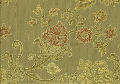 Designer Fabric Green Gold Rose Scroll Floral Print