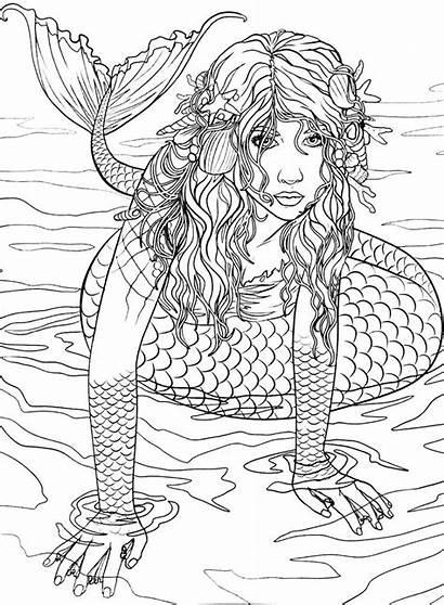 Mermaid Coloring Pages Books Adult Mermaids Rocks