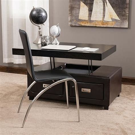 Maians media console coffee table is represented by famous. Kurt Brown Leather Convertible Storage Ottoman | Leather coffee table, Brown living room ...
