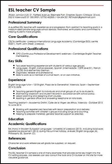 efl teacher resume templates