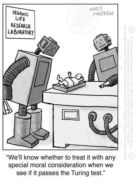 Turing test cartoon – a robot testing a baby using the