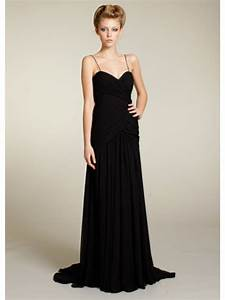 a line spaghetti straps floor length long black chiffon With black dress evening wedding