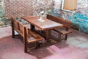 Narrow Solid Wood Distressed Trestle Dining Table With