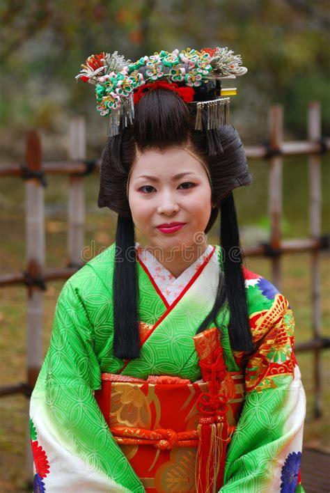 japanese lady  kimono himeji japan editorial stock