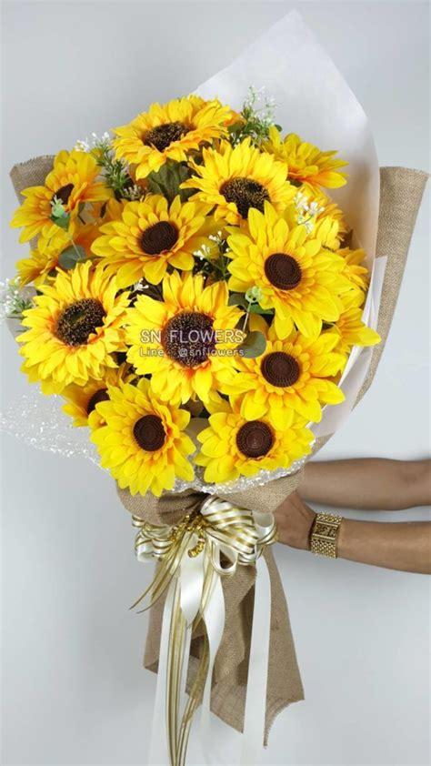 ช่อดอกทานตะวัน - สมนึกดอกไม้ผ้า