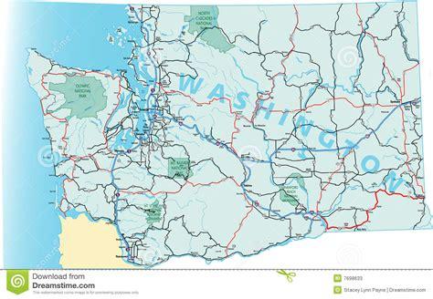 washington state map road estado mapa staat estrada wegenkaart seattle correspondencia camino programma strada dello stato highway interstates vector spokane