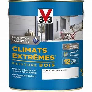 peinture bois exterieur climats extremes v33 satin blanc With peinture acrylique pour bois exterieur