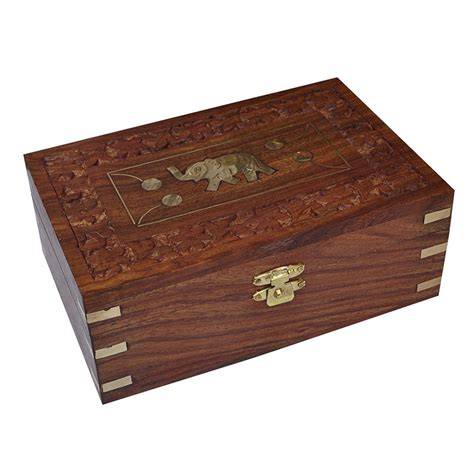 designer jewelry box engraved elephant design jewelry box