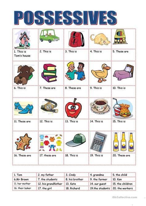 possessives  beginners worksheet  esl printable