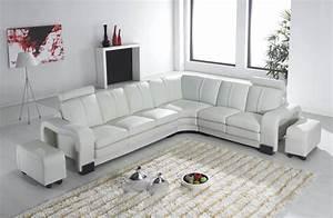 Deco in paris canape d angle en cuir blanc avec appuie for Canape angle blanc