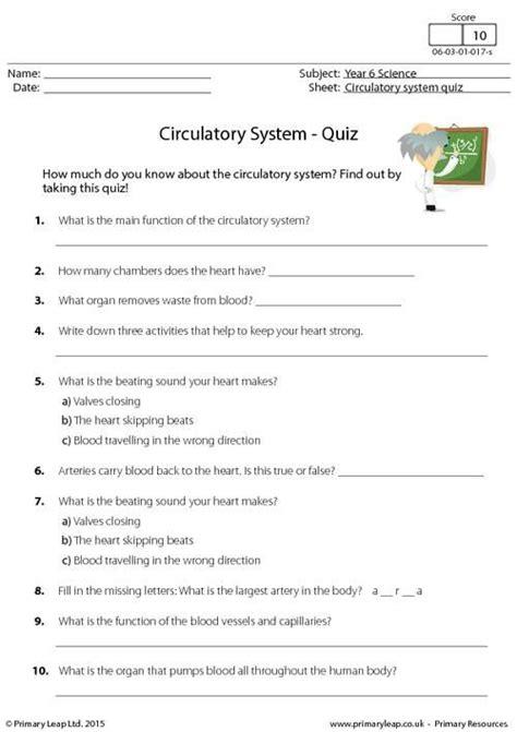 primaryleapcouk circulatory system quiz worksheet
