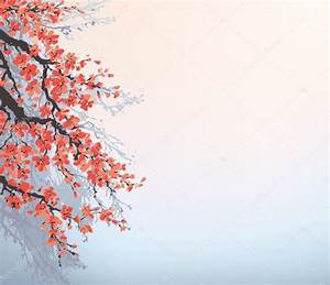 Vector background in Japanese style. Blossoming cherry ...