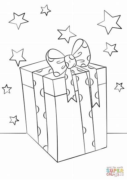 Coloring Christmas Gift Box Pages Printable Drawing
