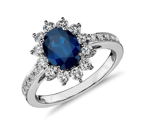 saphire engagement ring oval sapphire and halo ring in 18k white gold 8x6mm blue nile