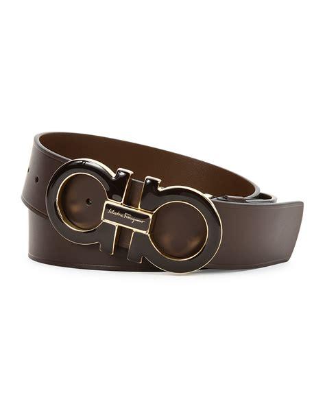 Ferragamo Extra-large Gancini Buckle Belt In Brown