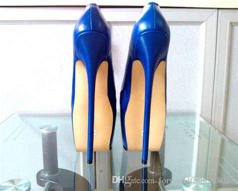 Customized Blue Patent Leather Pump Extreme High Heel 22cm