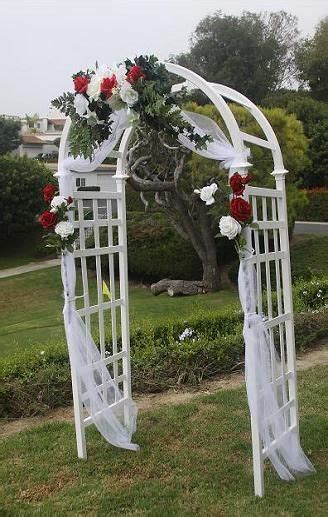wedding arch decoration tulle white lattice arch shown