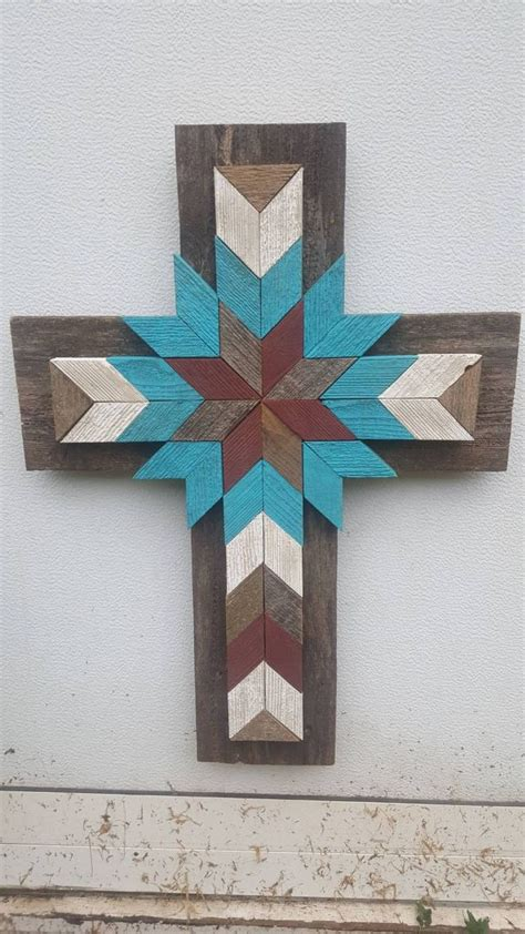 turquoise ivory barn red distressed cedar wood cross wood