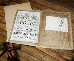 rustic wedding invitation burlap wedding invitation With diy hessian wedding invitations