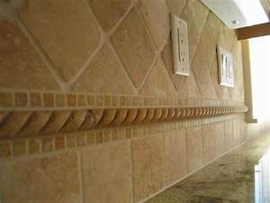 Ceramic instead of travertine this backsplash of for Tumbled travertine backsplash tile