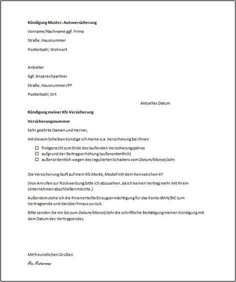 kuendigung kfz versicherung vorlage kuendigung vorlage
