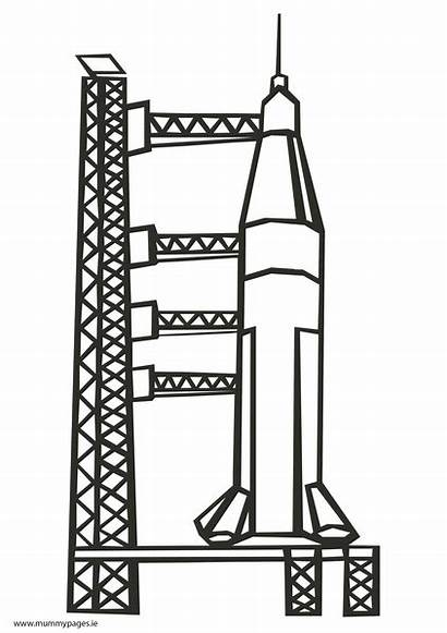 Rocket Launch Pad Clipart Colouring Mummypages Ie