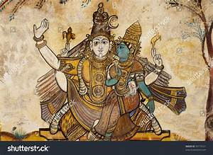 Beautiful Ancient Hindu God Painted On Stock Photo ...