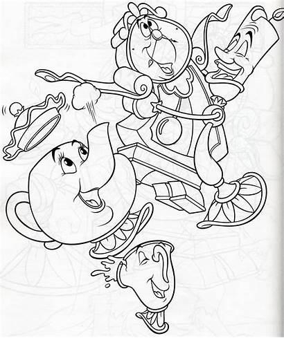 Disney Coloring Pages Lumiere Cogsworth Mrs Potts