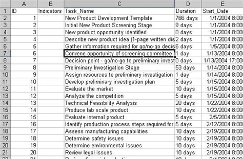 export  task list  excel    wbs structure