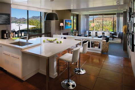 Big Brown Tile Floor Combined With White Wooden Kitchen
