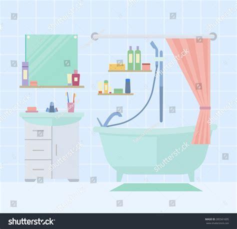 Flat Design Vector Illustration Of Modern Bathroom