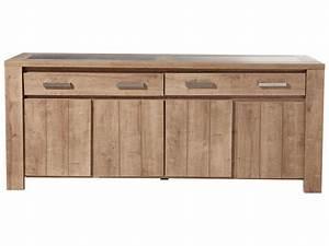 Buffet Salon Conforama : bahut 4 portes 2 tiroirs brest coloris ch ne vente de buffet bahut vaisselier conforama ~ Teatrodelosmanantiales.com Idées de Décoration