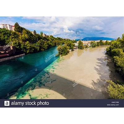 Confluence of the Rhone and Arve Rivers in Geneva. Geneva