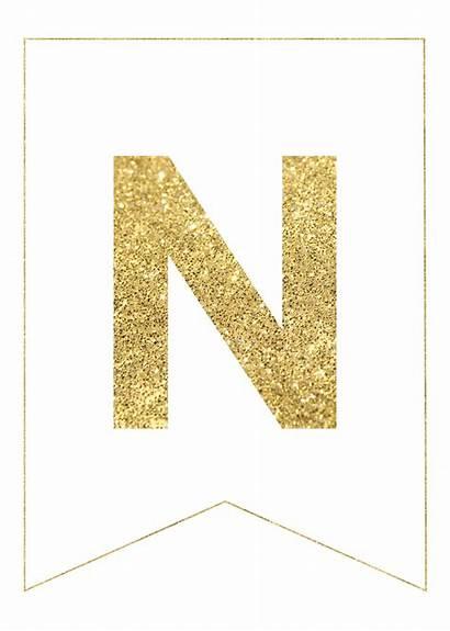 Banner Letter Gold Alphabet Letters Printable Ramadan