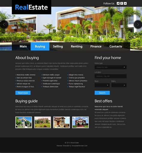 homepage template free website template real estate