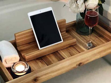 handmade wooden bath tray  ipad stand gadgetsin