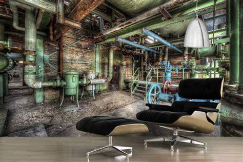 chambre style usine poster mural design papier peint trompe l 39 oeil vieille usine