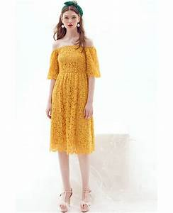 yellow off the shoulder lace knee length wedding guest With off the shoulder wedding guest dresses