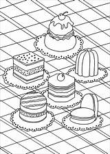 Coloring Cakes Pages Adults Cupcakes Cup Pastries Appetizing Treat Cake Adult Various Yourself Theme Simple Warhol sketch template