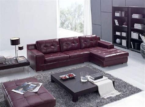 dark maroon leather  shape sectional sofa set  black