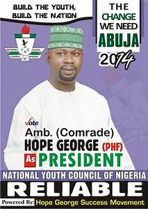 VOTE HOPE GEORGE FOR PRESIDENT, NATIONAL YOUTH COUNCIL OF ...