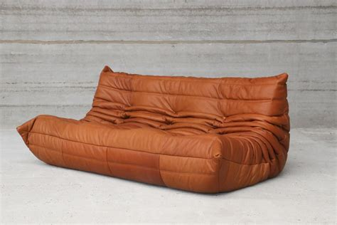 canapé cognac vintage togo cognac leather three seater sofa by michel
