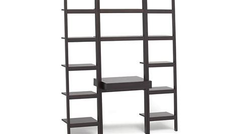 crate and barrel bookcase sawyer mocha leaning desk with two 18 quot bookcases crate