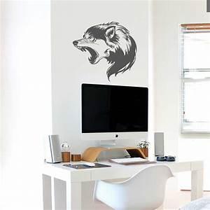 Animaux Décoration Intérieure : sticker d coration int rieure murale vitrophanie loup sauvage animal ~ Teatrodelosmanantiales.com Idées de Décoration