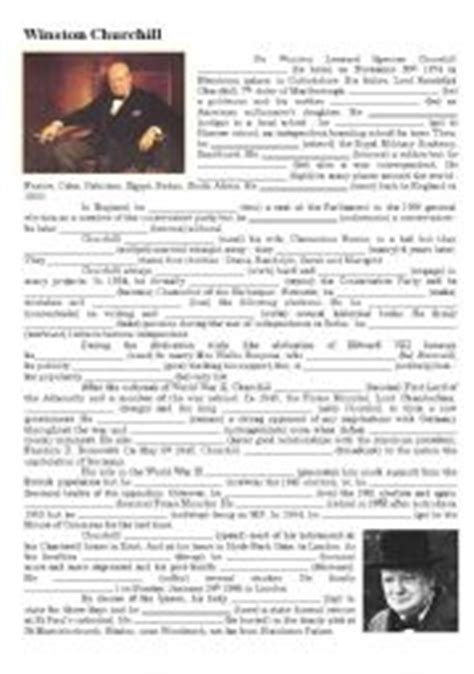 Winston Churchill Biography  Esl Worksheet By Feenanou