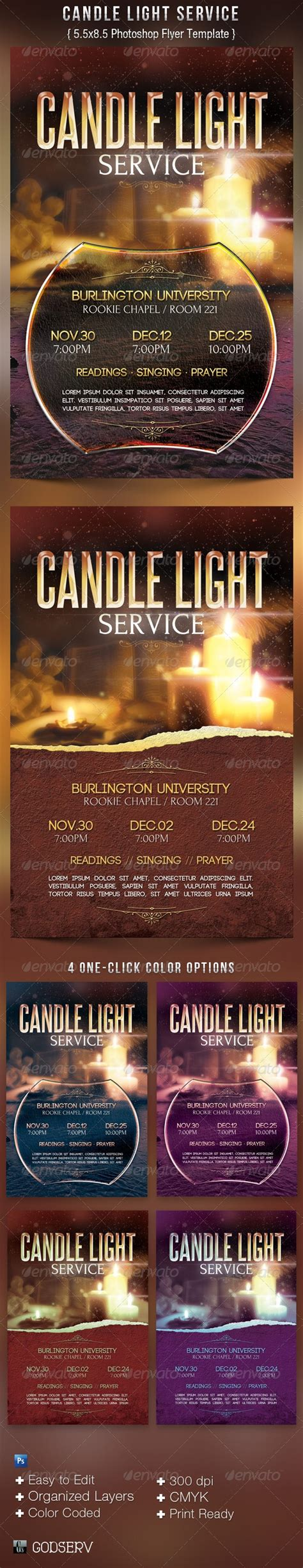 candle light service flyer templates  michael taylor