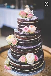 Naked Cake, Hochzeitstorte mit rosafarbenen Rosen