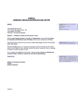fillable  company vehicle authorization letter fax